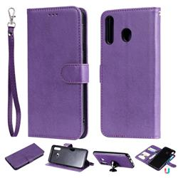 Retro Greek Detachable Magnetic PU Leather Wallet Phone Case for Samsung Galaxy M30 - Purple