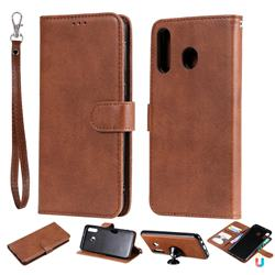 Retro Greek Detachable Magnetic PU Leather Wallet Phone Case for Samsung Galaxy M30 - Brown