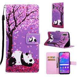 Cherry Blossom Panda Matte Leather Wallet Phone Case for Samsung Galaxy M30