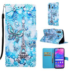 Tower Butterfly Matte Leather Wallet Phone Case for Samsung Galaxy M30