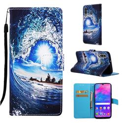 Waves and Sun Matte Leather Wallet Phone Case for Samsung Galaxy M30