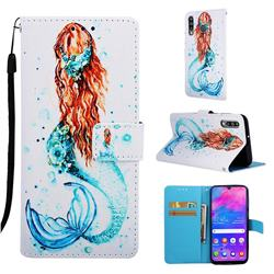Mermaid Matte Leather Wallet Phone Case for Samsung Galaxy M30