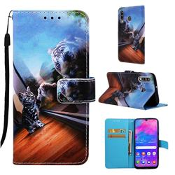 Mirror Cat Matte Leather Wallet Phone Case for Samsung Galaxy M30