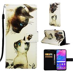 Cat Confrontation Matte Leather Wallet Phone Case for Samsung Galaxy M30