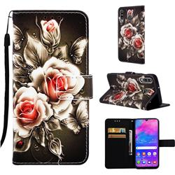Black Rose Matte Leather Wallet Phone Case for Samsung Galaxy M30