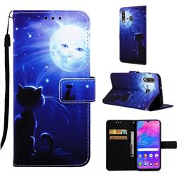 Cat and Moon Matte Leather Wallet Phone Case for Samsung Galaxy M30