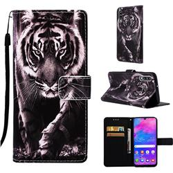 Black and White Tiger Matte Leather Wallet Phone Case for Samsung Galaxy M30