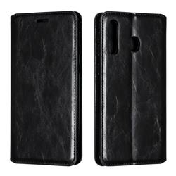 Retro Slim Magnetic Crazy Horse PU Leather Wallet Case for Samsung Galaxy M30 - Black
