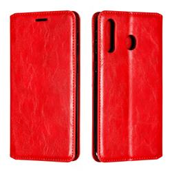 Retro Slim Magnetic Crazy Horse PU Leather Wallet Case for Samsung Galaxy M30 - Red