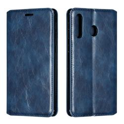 Retro Slim Magnetic Crazy Horse PU Leather Wallet Case for Samsung Galaxy M30 - Blue
