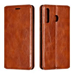 Retro Slim Magnetic Crazy Horse PU Leather Wallet Case for Samsung Galaxy M30 - Brown
