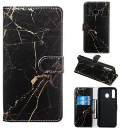Black Gold Marble PU Leather Wallet Case for Samsung Galaxy M30