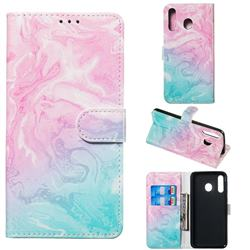 Pink Green Marble PU Leather Wallet Case for Samsung Galaxy M30