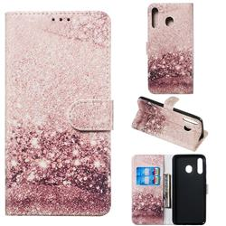 Glittering Rose Gold PU Leather Wallet Case for Samsung Galaxy M30