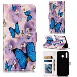 Purple Flowers Butterfly 3D Relief Oil PU Leather Wallet Case for Samsung Galaxy M30