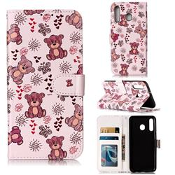 Cute Bear 3D Relief Oil PU Leather Wallet Case for Samsung Galaxy M30