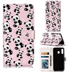Cute Panda 3D Relief Oil PU Leather Wallet Case for Samsung Galaxy M30