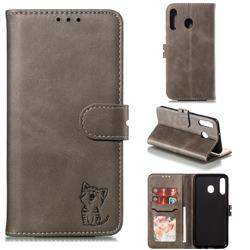 Embossing Happy Cat Leather Wallet Case for Samsung Galaxy M30 - Gray
