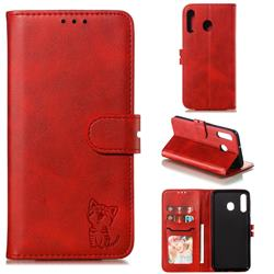 Embossing Happy Cat Leather Wallet Case for Samsung Galaxy M30 - Red