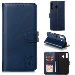 Embossing Happy Cat Leather Wallet Case for Samsung Galaxy M30 - Blue