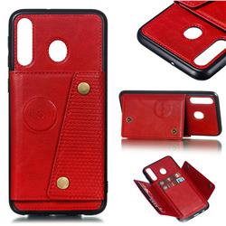 Retro Multifunction Card Slots Stand Leather Coated Phone Back Cover for Samsung Galaxy M30 - Red