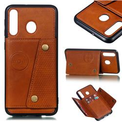 Retro Multifunction Card Slots Stand Leather Coated Phone Back Cover for Samsung Galaxy M30 - Brown