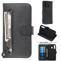 Retro Luxury Zipper Leather Phone Wallet Case for Samsung Galaxy M30 - Black