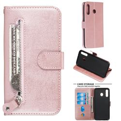 Retro Luxury Zipper Leather Phone Wallet Case for Samsung Galaxy M30 - Pink
