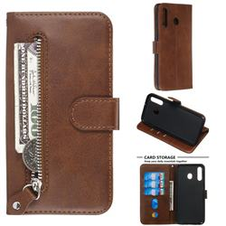 Retro Luxury Zipper Leather Phone Wallet Case for Samsung Galaxy M30 - Brown