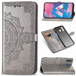 Embossing Imprint Mandala Flower Leather Wallet Case for Samsung Galaxy M30 - Gray