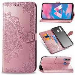 Embossing Imprint Mandala Flower Leather Wallet Case for Samsung Galaxy M30 - Rose Gold