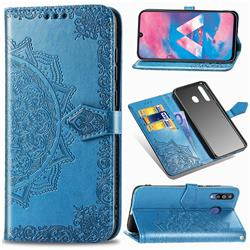 Embossing Imprint Mandala Flower Leather Wallet Case for Samsung Galaxy M30 - Blue