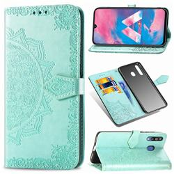 Embossing Imprint Mandala Flower Leather Wallet Case for Samsung Galaxy M30 - Green