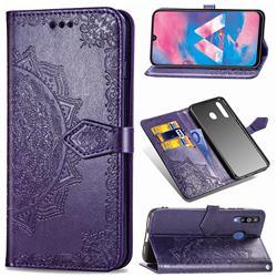 Embossing Imprint Mandala Flower Leather Wallet Case for Samsung Galaxy M30 - Purple