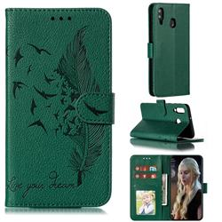Intricate Embossing Lychee Feather Bird Leather Wallet Case for Samsung Galaxy M30 - Green