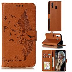 Intricate Embossing Lychee Feather Bird Leather Wallet Case for Samsung Galaxy M30 - Brown