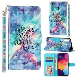 Blue Starry Sky 3D Leather Phone Holster Wallet Case for Samsung Galaxy M30