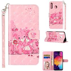 Pink Bear 3D Leather Phone Holster Wallet Case for Samsung Galaxy M30