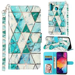 Stitching Marble 3D Leather Phone Holster Wallet Case for Samsung Galaxy M30