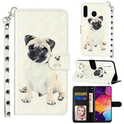 Pug Dog 3D Leather Phone Holster Wallet Case for Samsung Galaxy M30