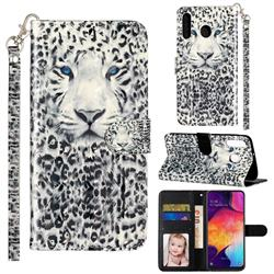 White Leopard 3D Leather Phone Holster Wallet Case for Samsung Galaxy M30