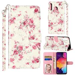 Rambler Rose Flower 3D Leather Phone Holster Wallet Case for Samsung Galaxy M30