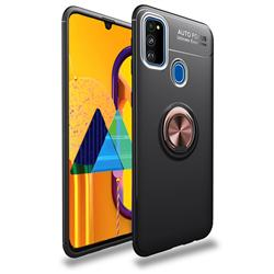 Auto Focus Invisible Ring Holder Soft Phone Case for Samsung Galaxy M30s - Black Gold