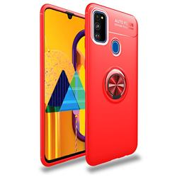 Auto Focus Invisible Ring Holder Soft Phone Case for Samsung Galaxy M30s - Red