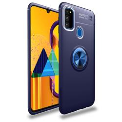 Auto Focus Invisible Ring Holder Soft Phone Case for Samsung Galaxy M30s - Blue