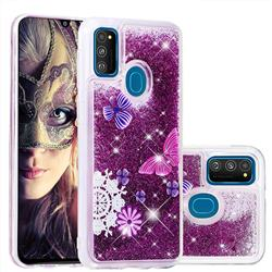 Purple Flower Butterfly Dynamic Liquid Glitter Quicksand Soft TPU Case for Samsung Galaxy M30s