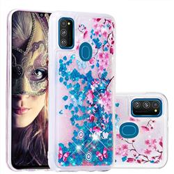 Blue Plum Blossom Dynamic Liquid Glitter Quicksand Soft TPU Case for Samsung Galaxy M30s