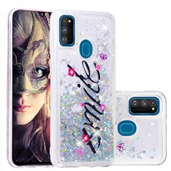 Smile Flower Dynamic Liquid Glitter Quicksand Soft TPU Case for Samsung Galaxy M30s