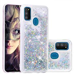Dynamic Liquid Glitter Quicksand Sequins TPU Phone Case for Samsung Galaxy M30s - Silver