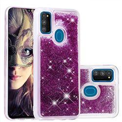 Dynamic Liquid Glitter Quicksand Sequins TPU Phone Case for Samsung Galaxy M30s - Purple